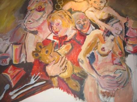 Arbeit an dem Gemälde Die Lebensstufen der Frau (c) Foto von Susanne Haun