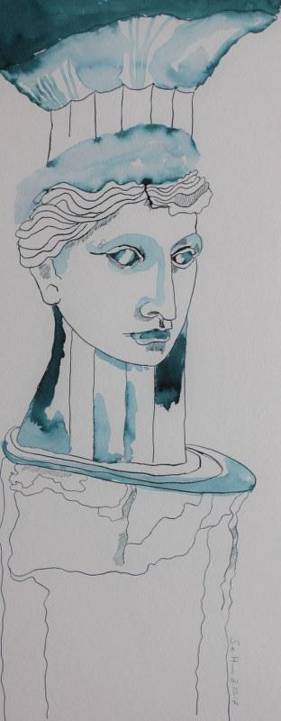 Lot und seine Frau - verso - 50 x 20 cm - Tusche auf Bütten (c) Zeichnung von Susanne Haun