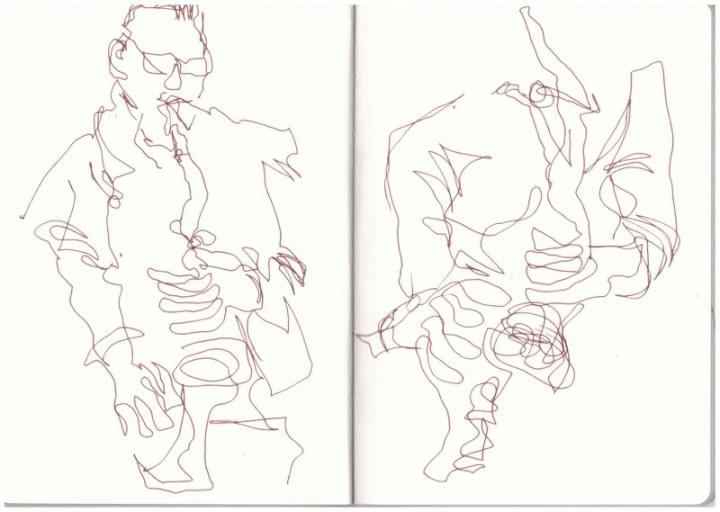 Saxophon - Klarinette - Synth - Sound (c) Zeichnung von Susanne Haun