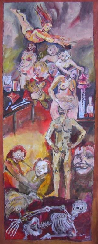 Susanne Haun - Die Lebensstufen der Frau - 4 x 2 Meter - 2007 . (c) Gemälde von Susanne Haun