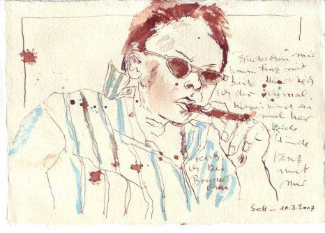 Tagebuch Z 2007 03 10 - - 15 x 20 cm (c) Zeichnung von Susanne Haun
