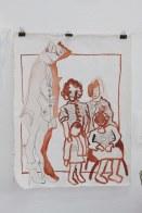 Vier Generationen - recto - 80 x 60 cm Tusche auf Leinwand (c) Zeichnung von Susanne Haun
