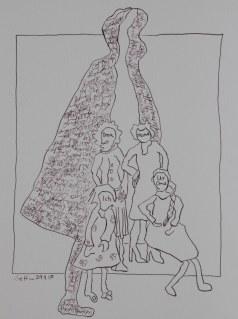 Vier Generationen - Version 1 - 32 x 22 cm - Tusche auf Bütten (c) Zeichnung von Susanne Haun