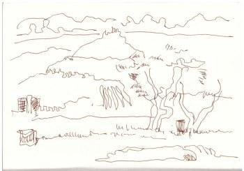 Athen Ausblick vom Filopappou (c) Zeichnung von Susanne Haun