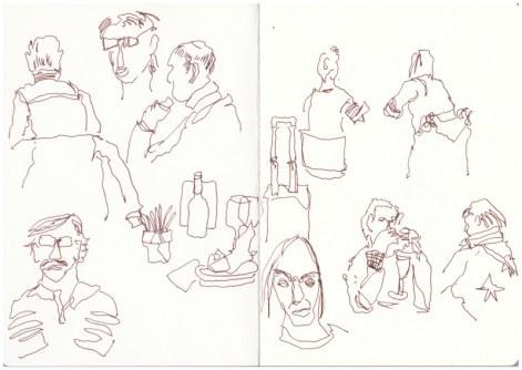 Auf dem Weg nach Athen - Flughafen Schönefeld (c) Zeichnung von Susanne Haun