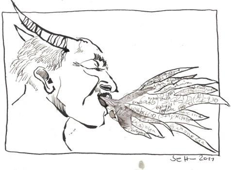 Der Dämonen Atem entfacht in mir das Feuer des Denkens (c) Zeichnung von Susanne Haun