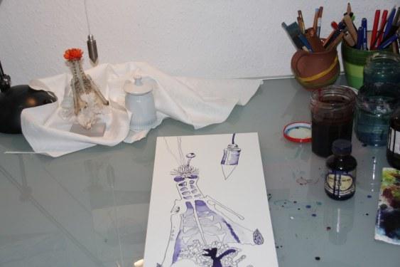Entstehung - Ausgelotet – Vanitas Stillleben Vers. 4 – 50 x 20 cm – Hahnemühle Aquarellkarton (c) Foto von Susanne Haun (2)