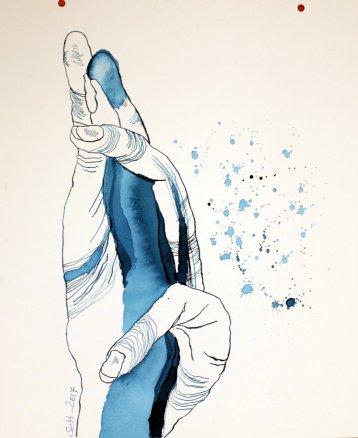 Es passiert nichts weiter außer ein Schnipsen - Version 1 -Tusche auf Aquarellkarton 30 x 40 cm (c) Zeichnung von Susanne Haun