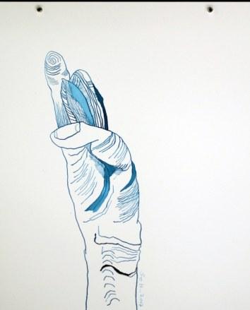 Es passiert nichts weiter außer ein Schnipsen - Version 2 - Tusche auf Aquarellkarton 30 x 40 cm (c) Zeichnung von Susanne Haun