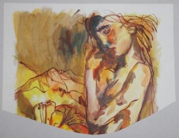 Versunken - Acryl und Tusche auf Aquarellkarton - 39 x 50 cm - 2006 - Gemälde von Susanne Haun