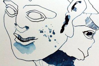 Detail - Hoplit mit Strohblume - 50 x 20 cm - Tusche auf Hahnemühle Aquarellkarton (c) Zeichnung von Susanne Haun