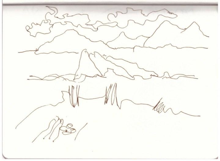 Blick vom Poseidontempel (c) Zeichnung von Susanne Haun