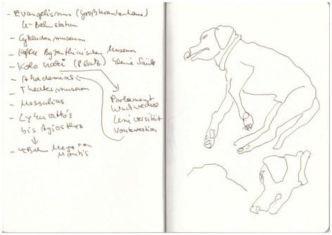 Athen - Route und Tito (c) Zeichnung von Susanne Haun