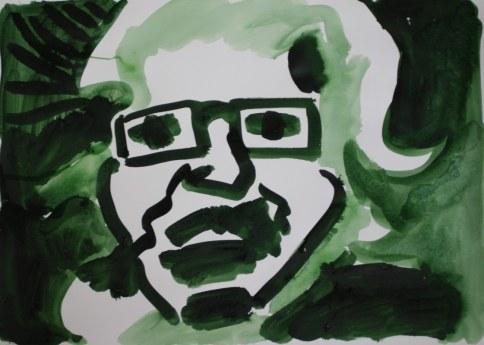 Selbstportrait für Heike - 2 - 60 x 40 cm – Tusche auf Skizzenpapier (c) Zeichnung von Susanne Haun
