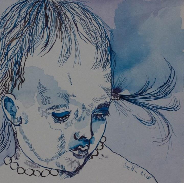 Kleines Mädchen in blau mit Kette - 25 x 25 cm - Tusche auf Aquarellkarton (c) Zeichnung von Susanne Haun