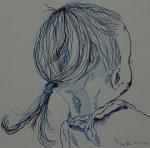Kleines Mädchen in blau mit Tuch - Version 1 - 25 x 25 cm - Tusche auf Aquarellkarton (c) Zeichnung von Susanne Haun