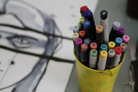 Arbeiten mit Markern (c) Foto von Susanne Haun
