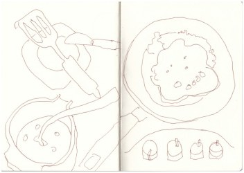 Blueberry Pancakes (c) Zeichnung von Susanne Haun