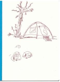 Zelten am Orange River (c) Zeichnung von Susanne Haun