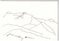 Namib Wüste - Blick von der Düne 45 (c) Zeichnung von Susanne Haun