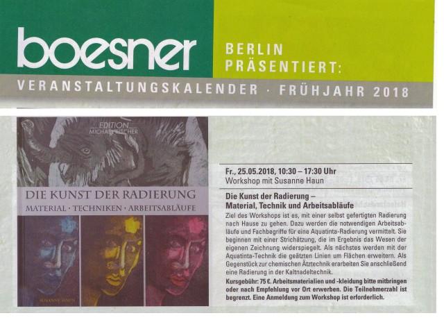 Workshop die Kunst der Radierung - Susanne Haun bei boesner Berlin Marienfelde