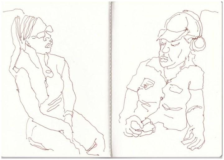 T und Lorrine im Bus (c) Zeichnung von Susanne Haun