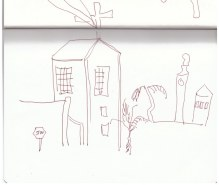 In Swakopmund (c) Zeichnung von Susanne Haun