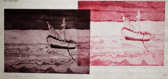 Die Ferne lockt, 2012, Blattmass 40 x 20 cm, Aquatinta (c) Radierung von Susanne Haun