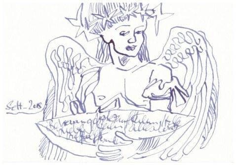 Engel - 13 x 18 cm - Tusche auf Hahnemuehle Burgund Aquarellkarton (c) Zeichnung von Susanne Haun