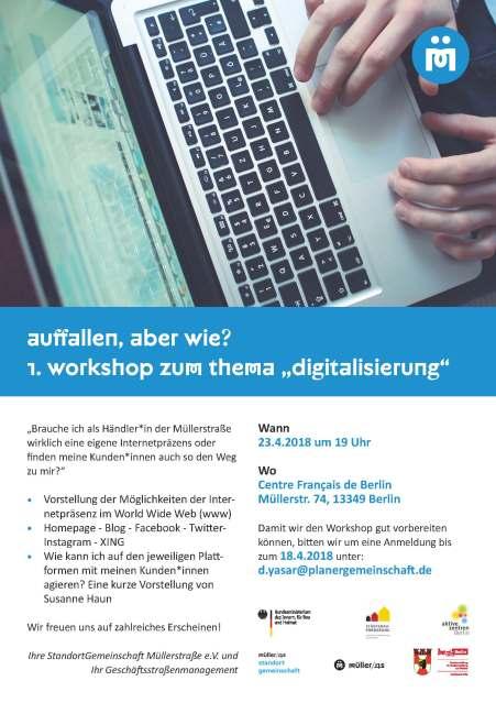 Flyer_workshop-digitalisierung - Händlergemeinschaft Müllerstrasse - Dozentin Susanne Haun