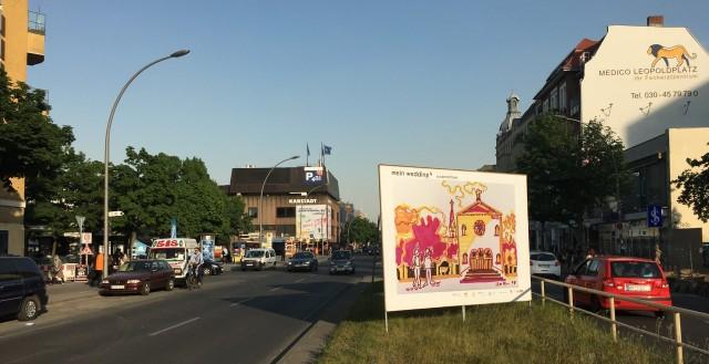 """Plakatgestaltung im Rahmen von """"mein wedding 4"""", 2017 auf der Müllerstraße. Plakatgestaltung von Susanne Haun (c) Foto Fanke"""
