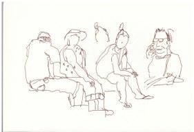 Auf dem Campingplatz (c) Zeichnung von Susanne Haun