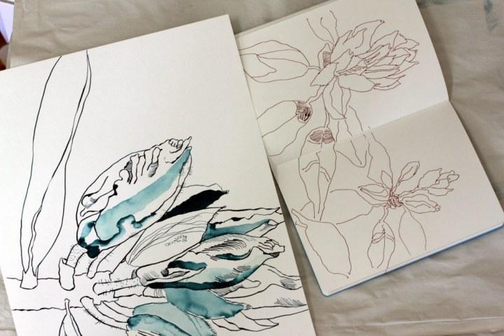 Größenvergleich Rhododendron - 30 x 40 cm und Skizzenbuch (c) Zeichnung von Susanne Haun