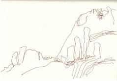 Um Spitzkoppe herum (c) Zeichnung von Susanne HaunUm Spitzkoppe herum (c) Zeichnung von Susanne Haun
