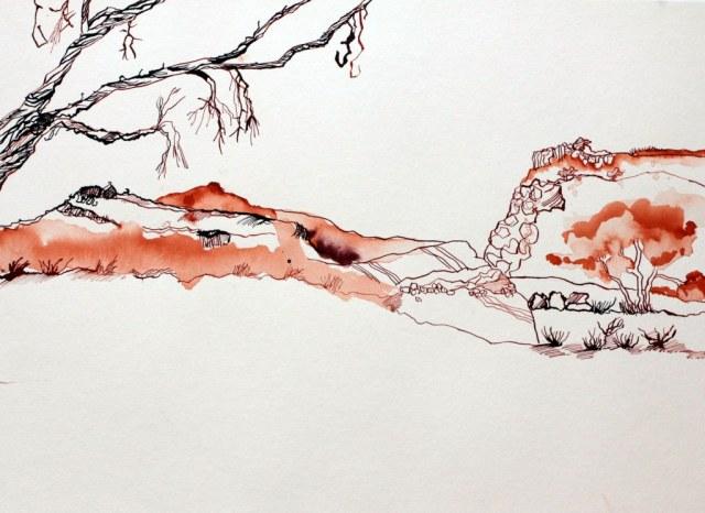 Entstehendes Afrika - 30 x 40 cm - Tusche auf Hahnemuehle Aquarellkarton (c) Zeichnung von Susanne Haun