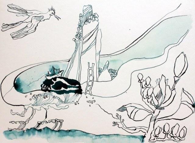 Von Novalis insprierte Traumlandschaft - 30 x 40 cm - Tusche auf Hahnemuehle Aquarellkarton (c) Zeichnung von Susanne Haun