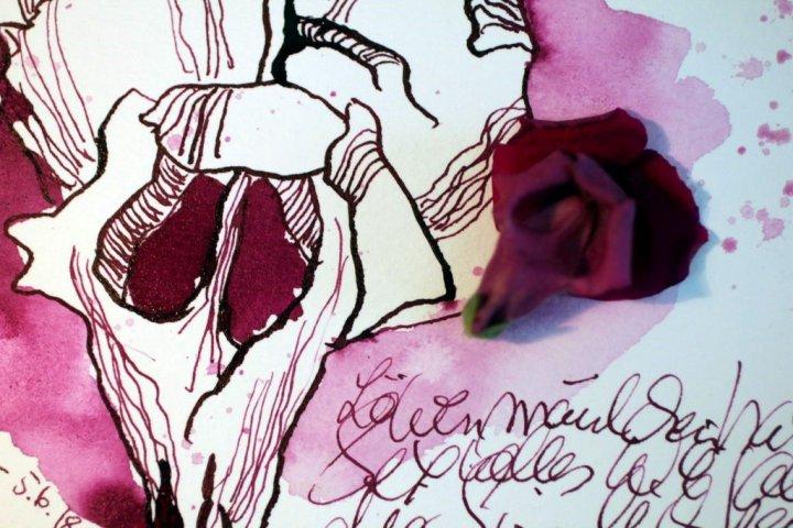 Löwenmäulchen des Lebens - 13 x 18 cm - Tusche auf Hahnemuehle Aquarellkarton Burgund (c) Foto und Zeichnung von Susanne Haun