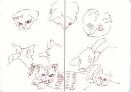Karthäuser Kater Oscar in meinem Skizzenbuch (c) Zeichnung von Susanne Haun