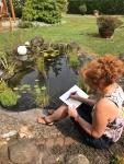 Susanne Haun - Zeichnen in Papas Garten (c) Foto von M.Fanke