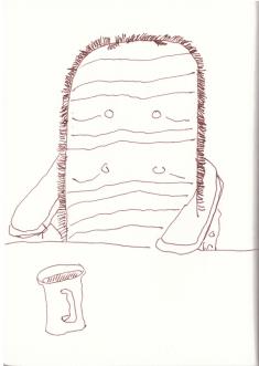 In Papas Garten (c) Zeichnung von Susanne Haun