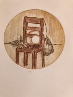 Radierung Stuhl mit Stillleben von (c) Patricia Nagel
