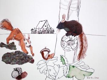 Wo das Eichhörnchen wohnt (c) Collage von Susanne Haun