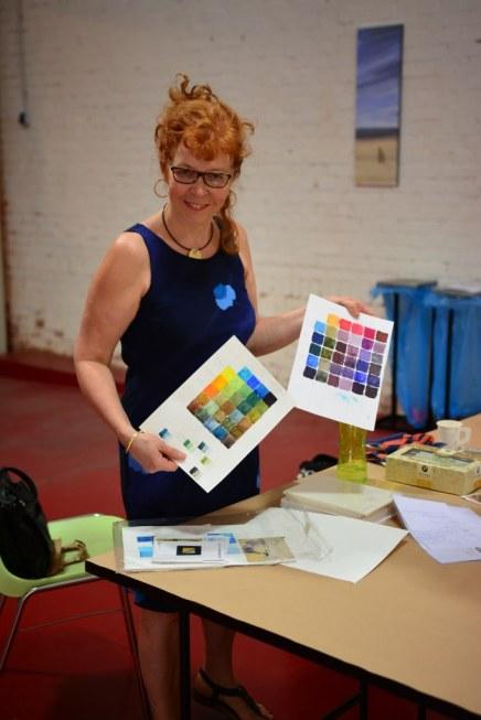 Vorbereitungen für den Workshop Susanne Haun bei Boesner in Leipzig (c) Foto von M.Fanke