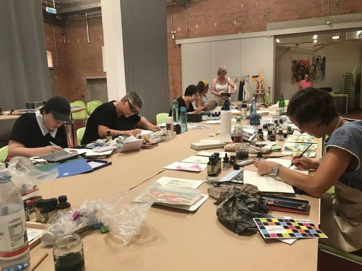 Impressionen vom Workshop Traumlandschaften Mixed Media (c) Foto von Susanne Haun
