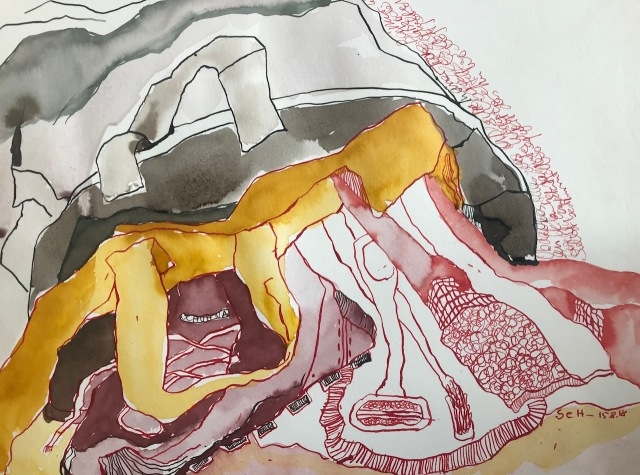 Obdachlos - Zwei Tüten halten besser als eine - Tusche auf Aquarellkarton - 30 x 40 cm (c) Zeichnung von Susanne Haun