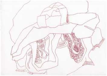 Obdachlos - Zwei Tüten halten besser als eine - Version 2 - Tusche auf Bütten-Zeichenpapier - 20 x 30 cm (c) Zeichnung von Susanne Haun