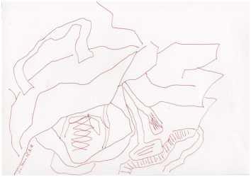 Obdachlos - Zwei Tüten halten besser als eine - Version 3 - Tusche auf Bütten-Zeichenpapier - 20 x 30 cm (c) Zeichnung von Susanne Haun
