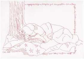 Obdachlos - Ein Platz zum Schlafen - Version 3 - Zeichnung von Susanne Haun (c) VG Bild Kunst, Bonn 2018