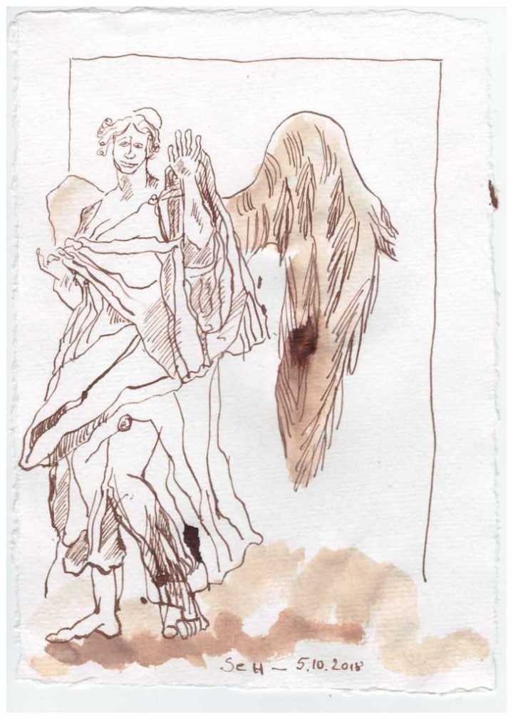 Ein letzter Gruß - 20 x 15 cm - Tusche auf Bütten - Zeichnung von Susanne Haun (c) VG Bild Kunst, Bonn 2018