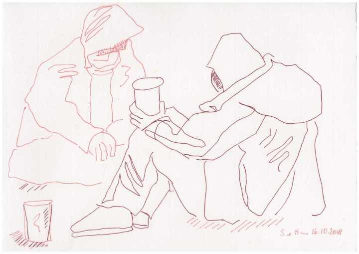 Obdachlos - 20 x 30 cm - Zeichnung von Susanne Haun © VG Bild Kunst, Bonn 2018
